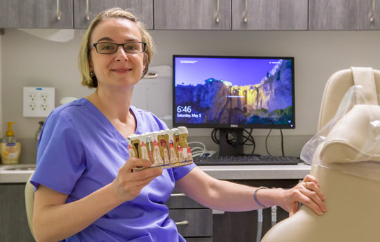 Dr. Iris Bogdan at work, Williamstown, NJ dental office